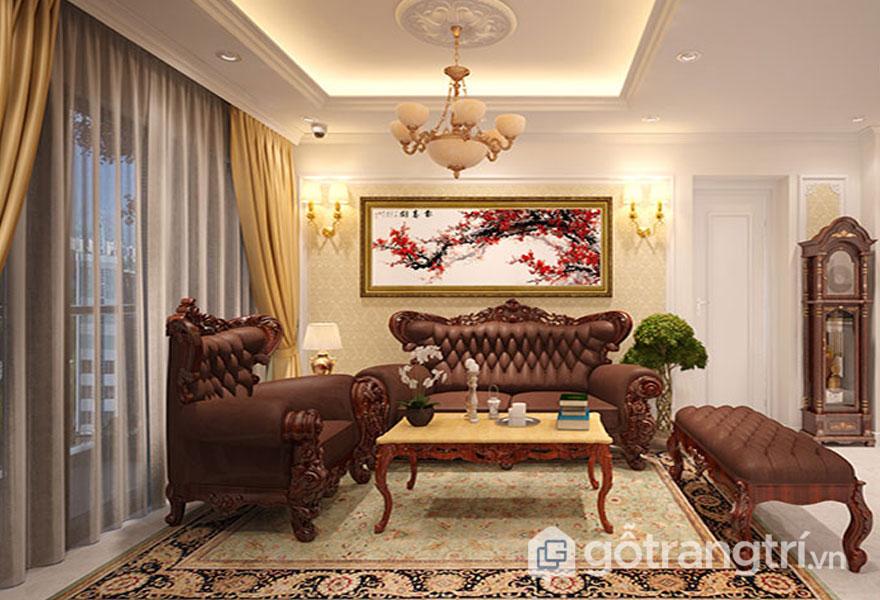 Phòng khách theo phong cách tân cổ điển (Ảnh: Internet)