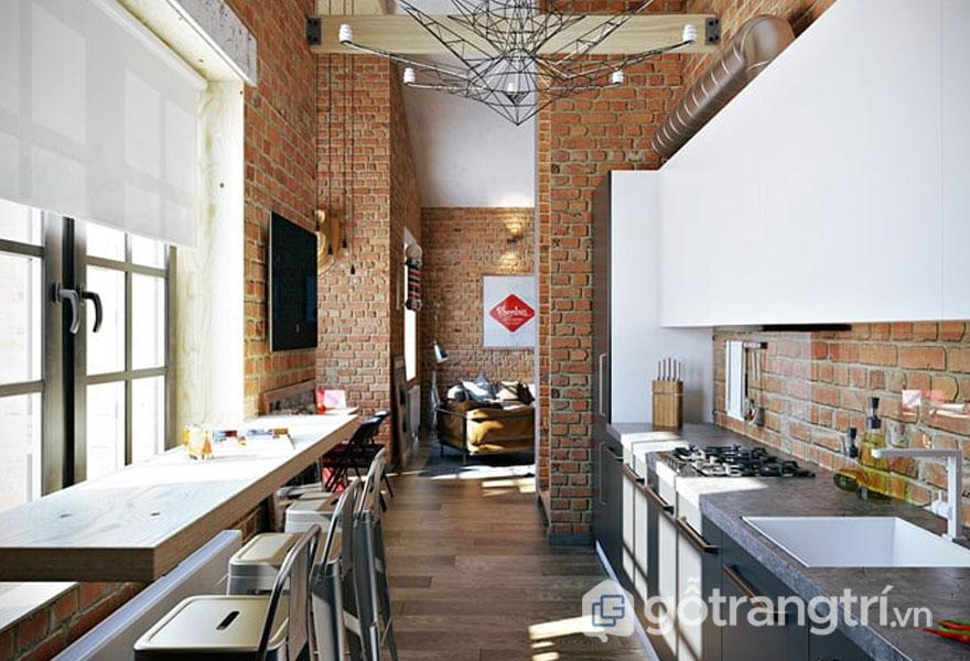 Bếp ăn được thiết kế cửa sổ rộng để đưa ánh nắng vào phòng. Và tấm rèm treo cửa để ngăn cản ánh sáng quá gắt rọi chiếu (Ảnh: Internet)