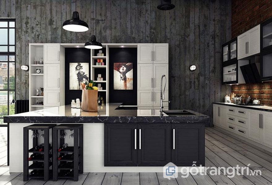 Bàn bếp được ốp bằng đá granit với những kệ tủ kính trong suốt (Ảnh: Internet)
