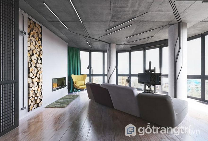 Sàn nhà được lát bằng gỗ vời trần nhà để trần (Ảnh: Internet)