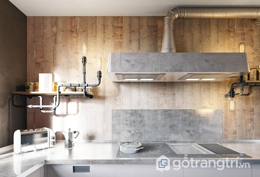 Đường dẫn kim loại hay đường dẫn hút mùi đều được để trần trụi trên tường gỗ (Ảnh: Internet)
