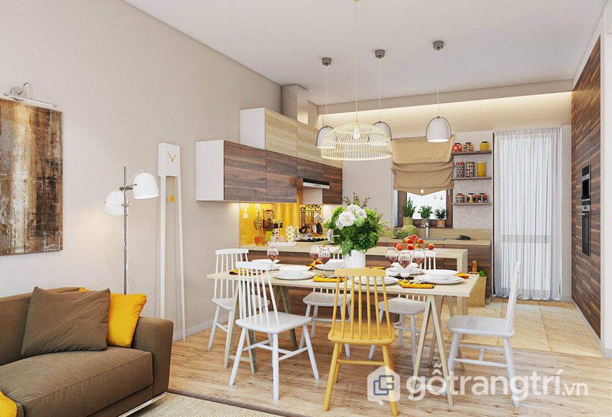 Phòng ăn vintage được bài trí khá nhiều gam màu sắc nổi bật là sắc vàng và tông màu nâu trầm của gỗ (Ảnh: Internet)