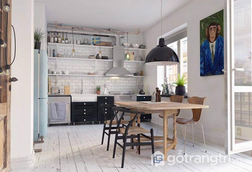 Phòng ăn vintage này được thu hút bởi sắc đen và trắng và bức tranh treo tường khá độc đáo (Ảnh: Internet)