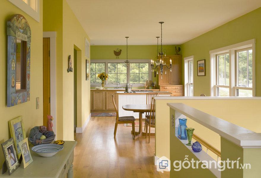 Màu sắc như màu kem, màu xanh hay được sử dụng trong kiểu trang trí tường bếp gợi nét hoài cổ xưa vintage (Ảnh: Internet)