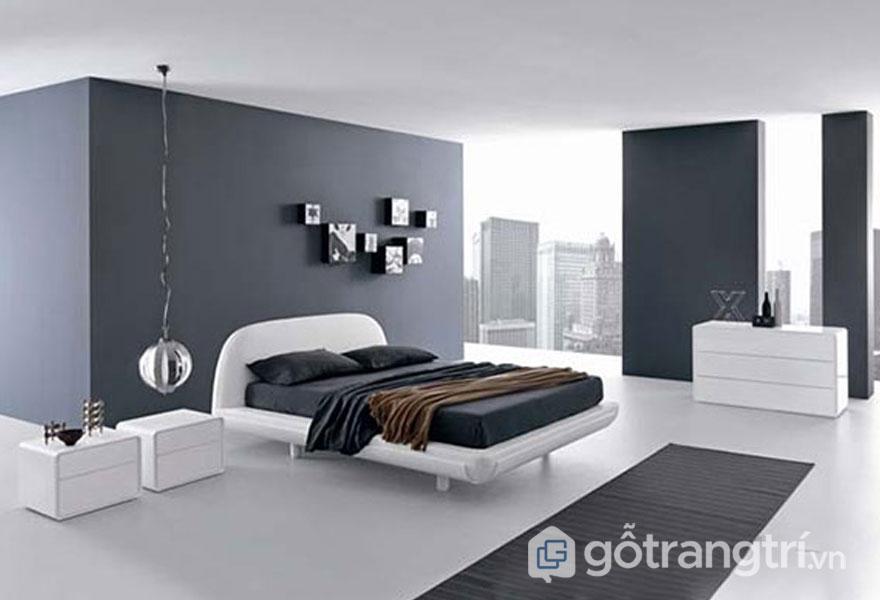 Màu xám và màu trắng là tông màu chủ đạo cho căn phòng ngủ (Ảnh: Internet)