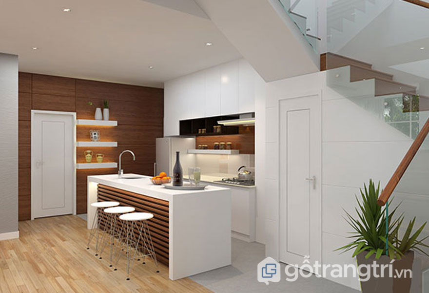 Phòng bếp nổi bật gam màu nâu nền trắng (Ảnh: Internet)