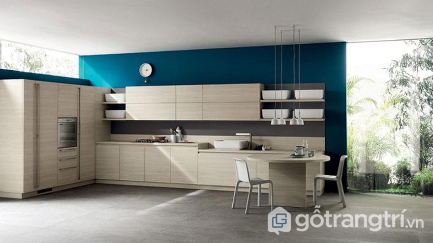 Màu xanh nên nổi bật lên hệ tủ bếp (Ảnh: Internet)