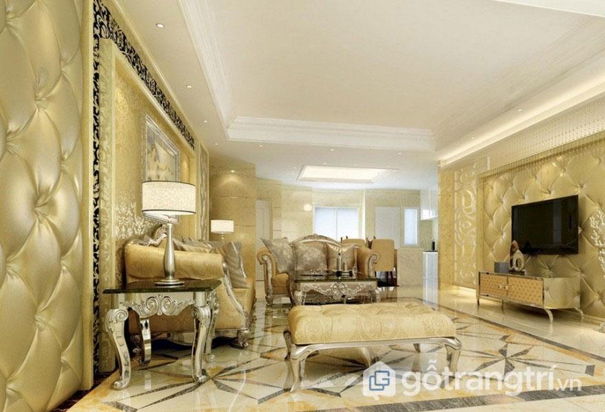 Phòng khách tân cổ điển với nội thất cao cấp (Ảnh: Internet)