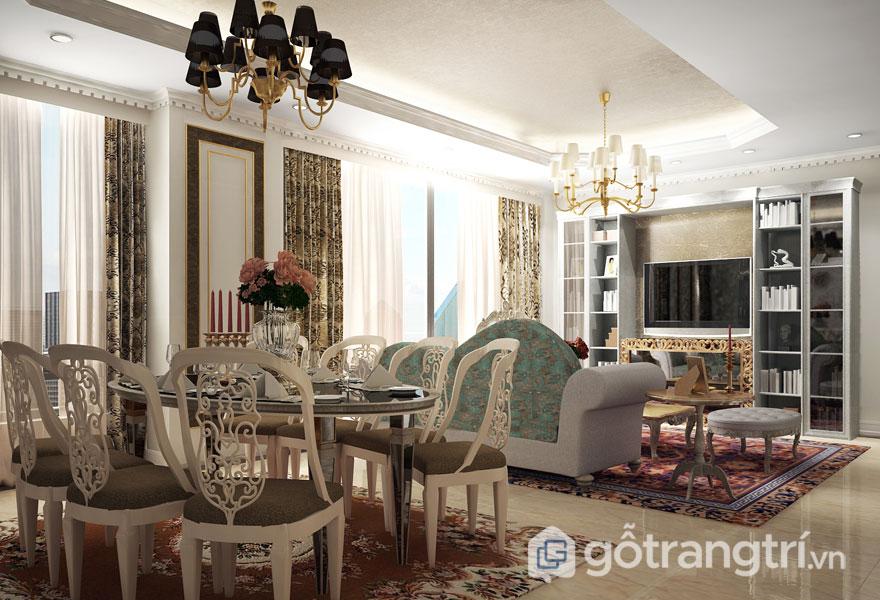 Ngất lịm trước mẫu thiết kế nội thất chung cư tân cổ điển siêu quyến rũ (Ảnh: Internet)
