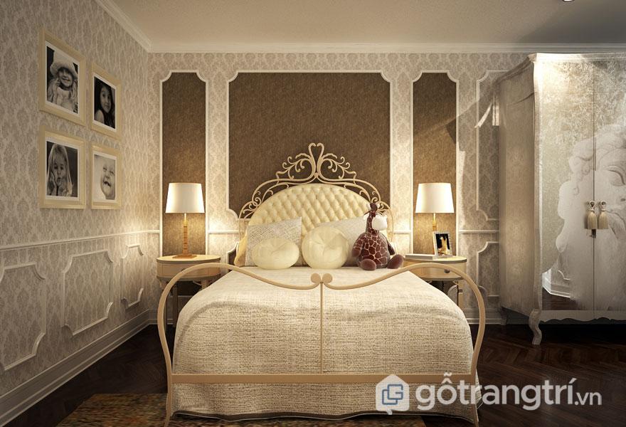 Bức tường nhà được sử dụng giấy dán tường hoa văn cao cấp (Ảnh: Internet)