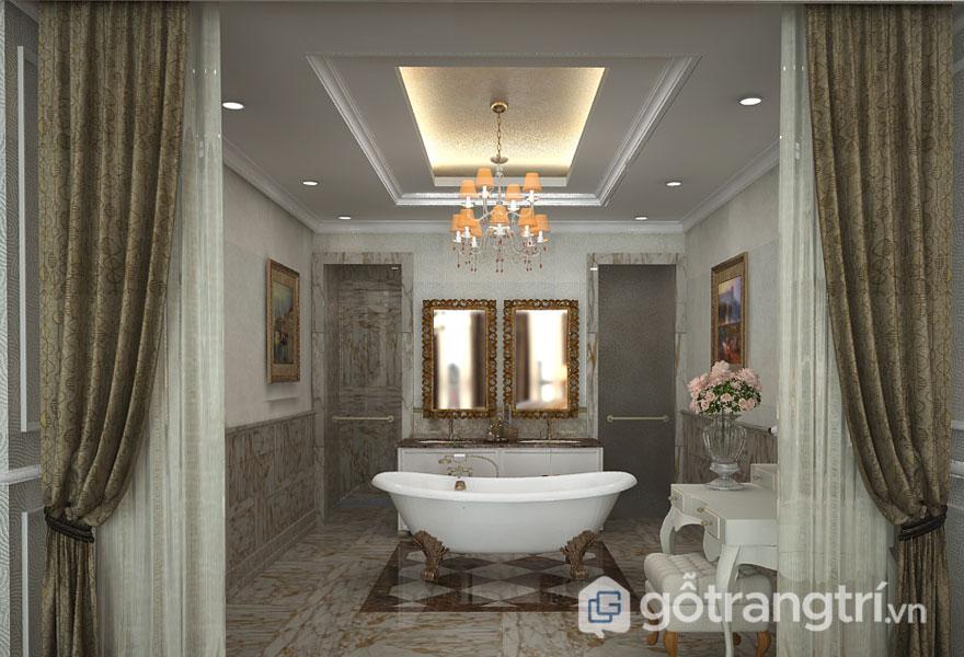 Phòng tắm tân cổ điển mang phong cách hoàng gia (Ảnh: Internet)