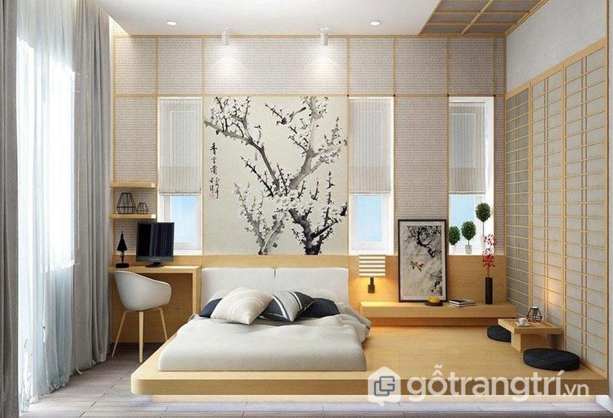 Phòng ngủ sử dụng tranh treo tường mang đậm phong thái Nhật Bản (Ảnh: Internet)