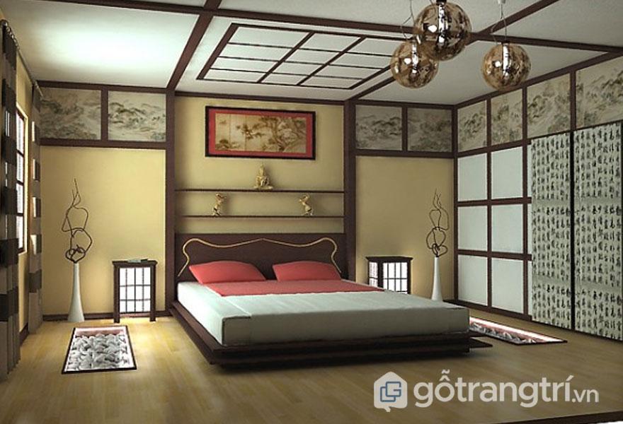 Phòng ngủ Nhật Bản được thiết kế khá đơn giản, không màu mè, cách điệu mà vẫn tôn lên sự ấm cúng, đầy đủ công năng tiện ích (Ảnh: Internet)