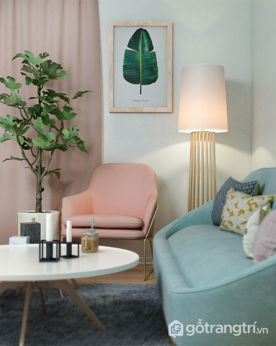 Phòng khách với gam màu pastel (Ảnh: Internet)