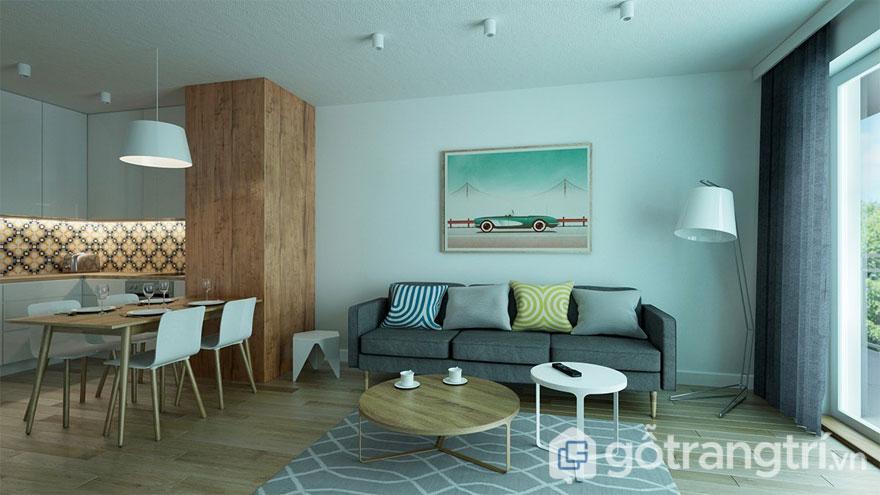 Phòng khách với gam màu xám giản đơn (Ảnh: Internet)