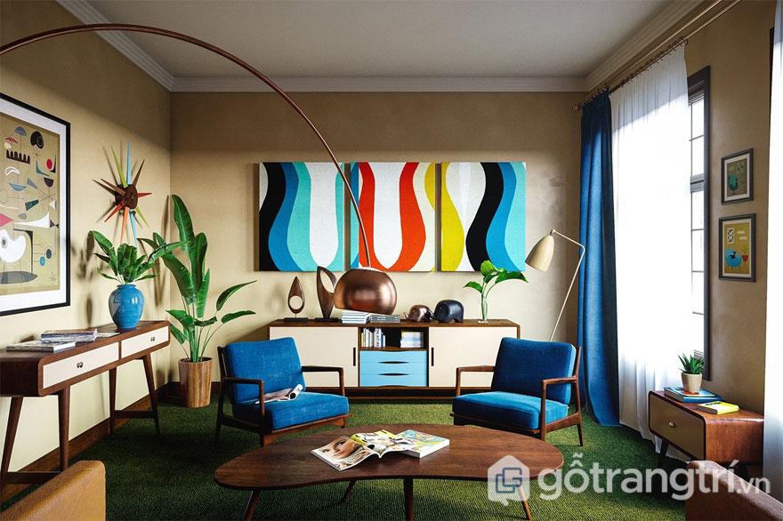 Phòng khách áp dụng pop color (Ảnh: Internet)