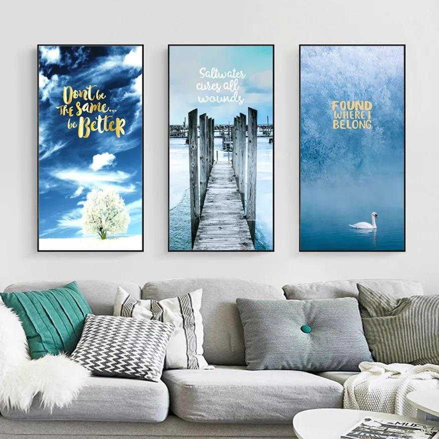 Tranh treo tường của người bản mệnh Thủy nên chọn màu xanh dương để hợp phong thủy