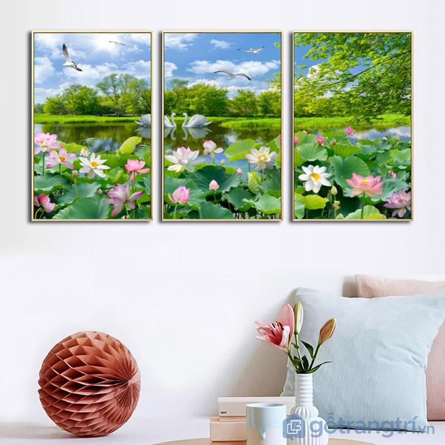 Tạo không gian phòng khách sống động với mẫu tranh Canvas đẹp ấn tượng