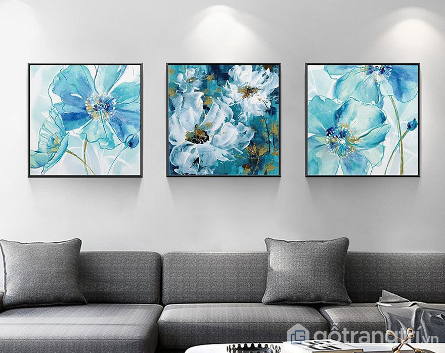 Mẫu tranh Canvas đẹp màu xanh ngọc, tạo điểm nhấn mới lạ cho không gian.