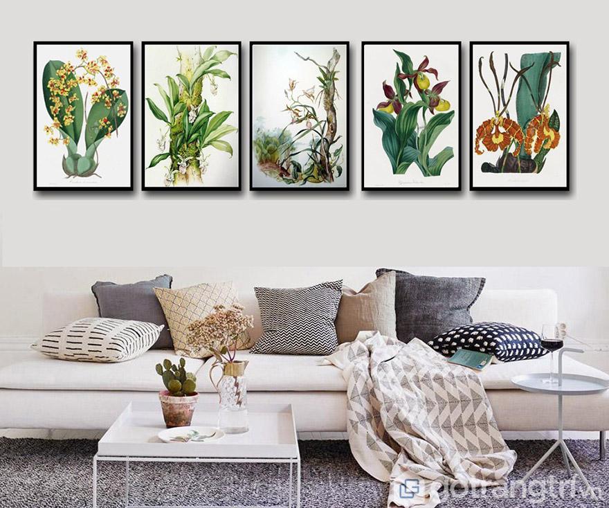 Tranh nghệ thuật về phong cảnh, cây cối và hoa là những chủ đề rất dễ bài trí không gian.