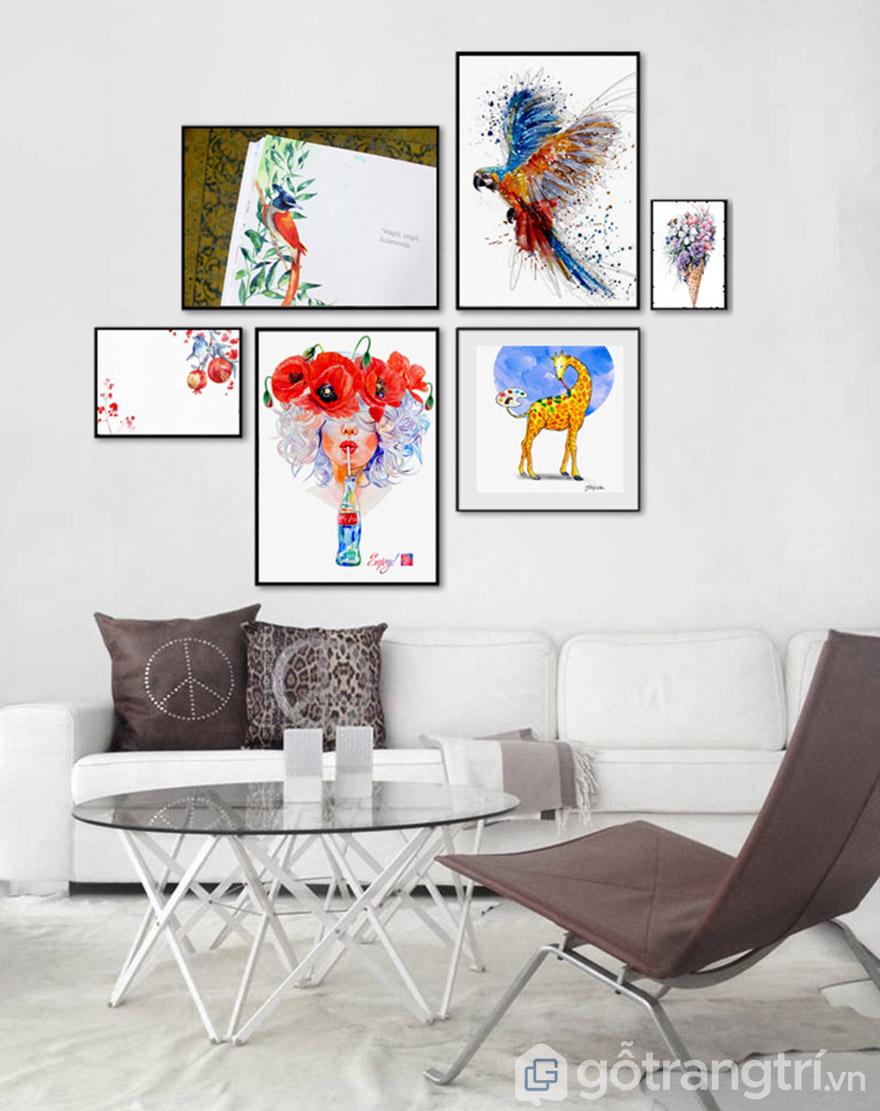 Tranh nghệ thuật có màu sắc tươi sáng, bố cục hài hòa, tạo không gian với điểm nhấn rất riêng biệt.