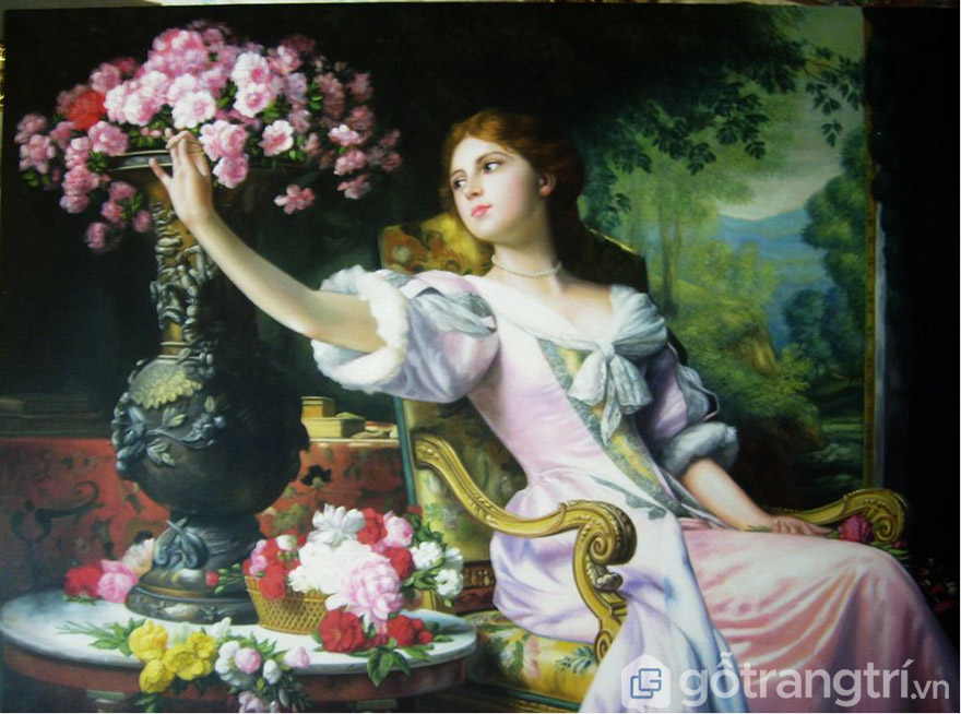 Tranh nghệ thuật cổ điển - thiếu nữ bên hoa