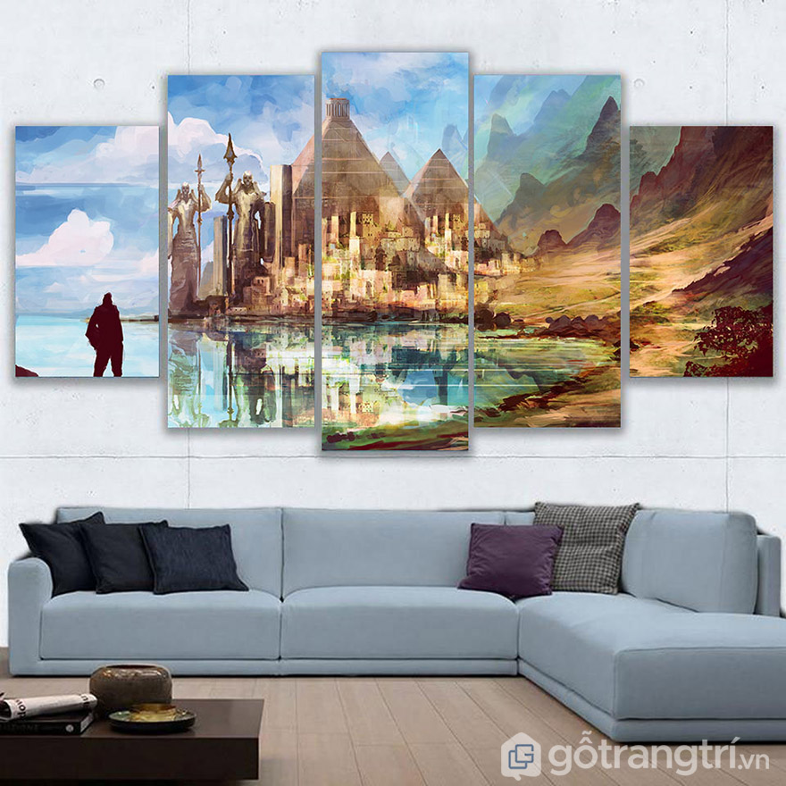 Với không gian phòng khách lớn, tốt nhất nên chọn lựa những mẫu tranh nghệ thuật kích thước lớn.