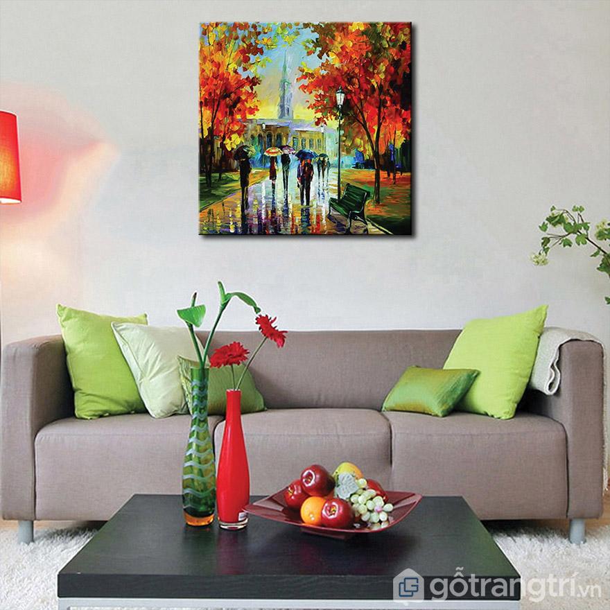 sự kết hợp độc đáo của tranh nghệ thuật với nội thất phòng khách.