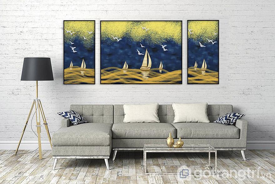 Màu vàng của tranh nghệ thuật bao giờ cũng tạo nên nét đẹp riêng cho không gian.