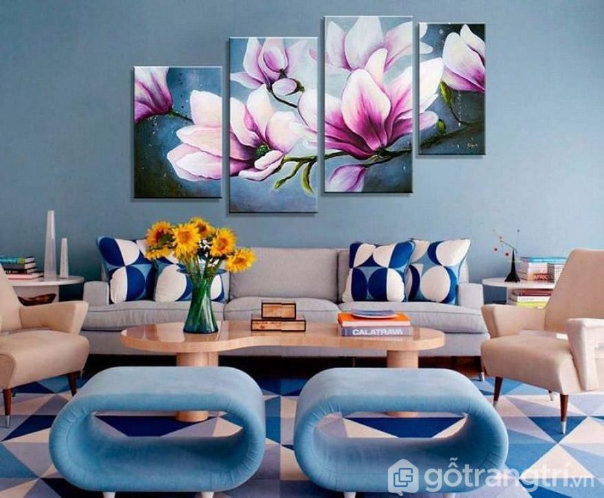Tranh nghệ thuật hiện đại mang đến không gian sáng tạo và thu hút ánh nhín.