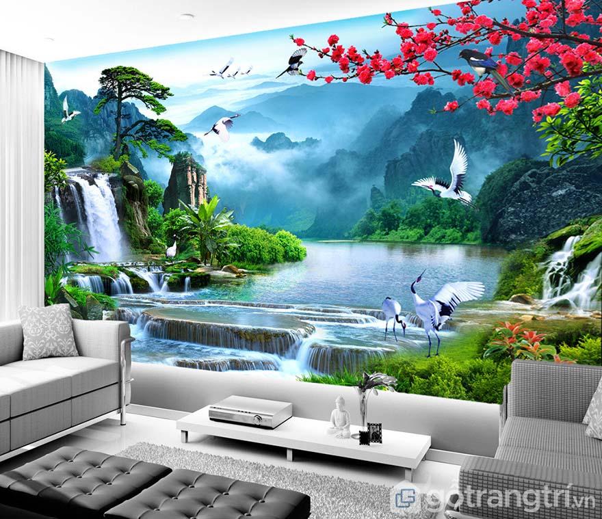 Với những bức tường lớn, bạn có thể chọn tranh dán tường để che khoảng trống không gian.