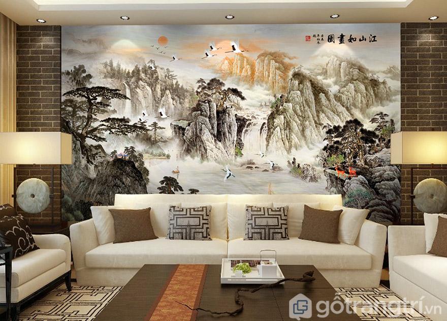 Tranh ốp tường 3D chủ đề phong cảnh mang đến sự sang trọng và tinh tế cho phòng khách.