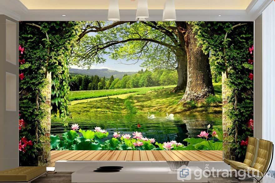 Tranh dán tường phong cảnh giúp che khuyết điểm hiệu quả cho không gian.