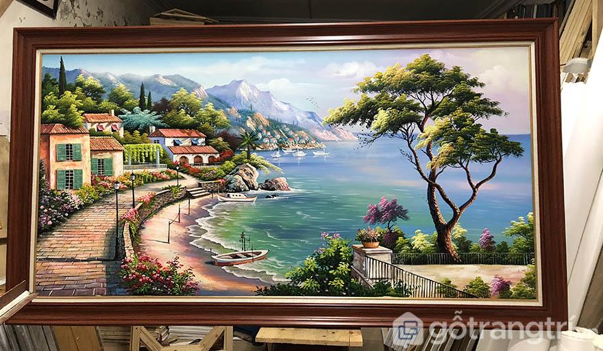 Tranh treo tường phong cảnh 3D sẽ mang đến điểm nhấn rất sang trọng cho phòng khách.