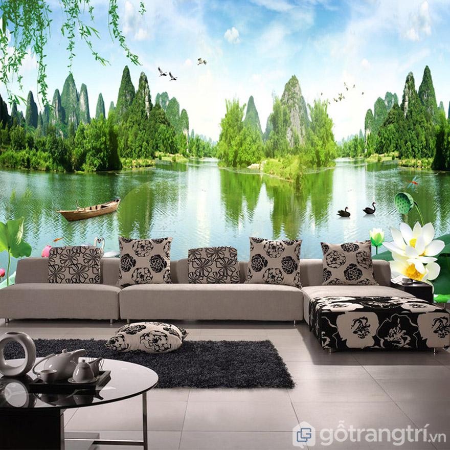 Tranh dán tường 3D dùng trong phòng khách là lựa chọn tuyệt vời.