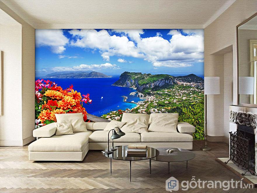 Tranh 3D dán tường phong cảnh giúp bù đắp khoảng trông hiệu quả nhất!