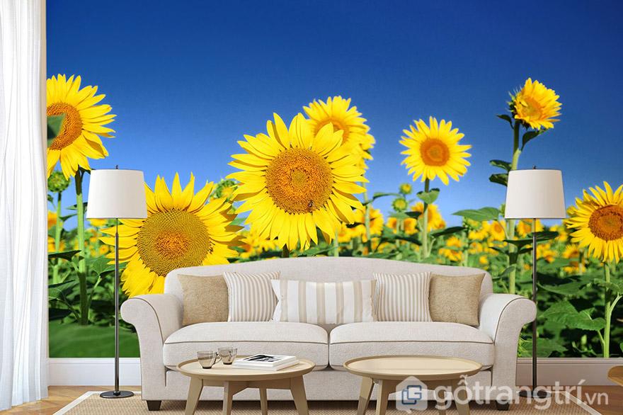 Nhờ vào tranh phong cảnh đẹp, bạn có thể tạo cả một vườn hoa hướng dương trong nhà.