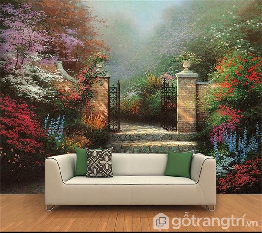 Những mẫu tranh phong cảnh thường mang màu sắc tươi sáng, bù đắp khoảng trống tường rất hiệu quả.