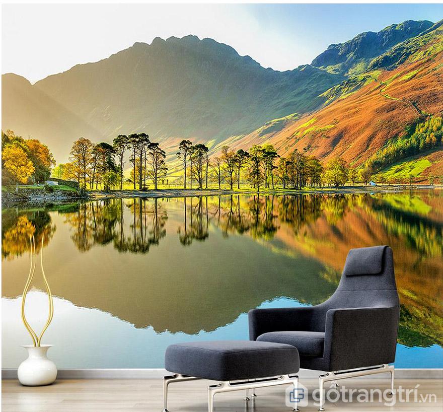 Tranh phong cảnh dán tường sẽ mang đến cho bạn không gian sang trọng, chân thực hơn.
