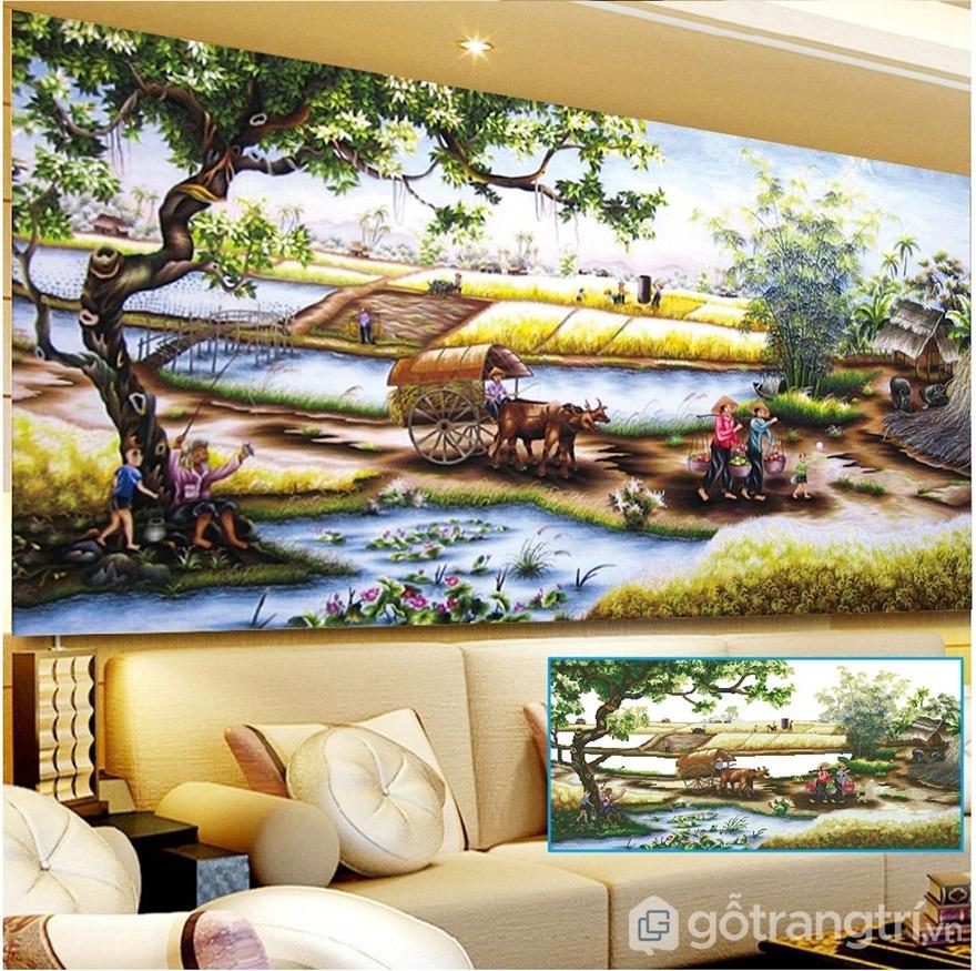 Lạ mắt với những mẫu tranh đính đá treo tường phong cảnh cho phòng khách.