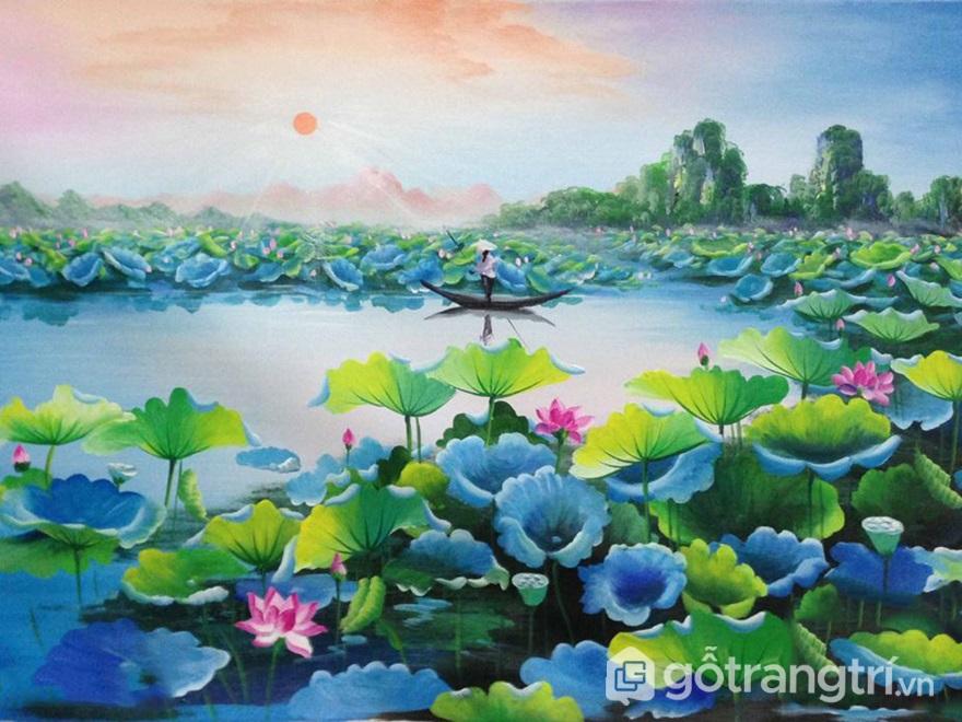 Tranh sơn dầu hoa sen - ảnh internet