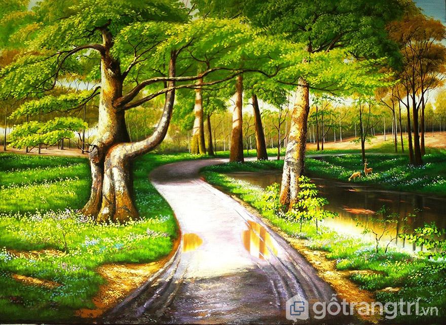Nhờ vào lớp dầu tự nhiên mà tranh sơn dầu phong cảnh có độ bền cao hơn hẳn so với tranh thường.