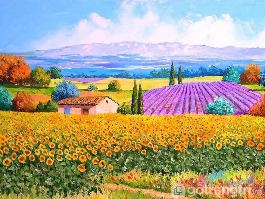 Bức tranh sơn dầu về cánh đồng hoa thích hợp dùng trong mọi không gian sống.