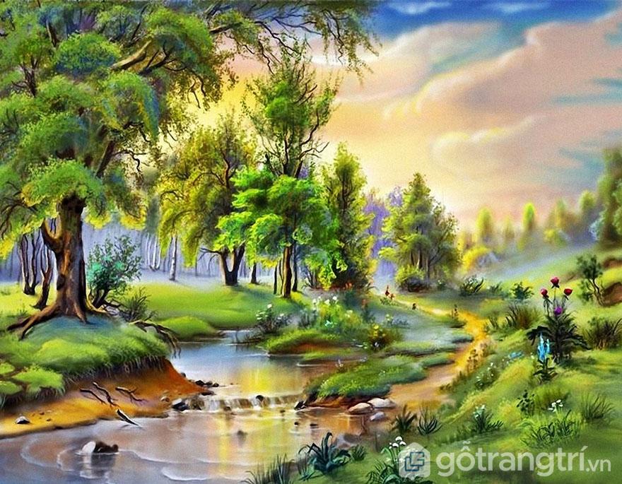 Bạn có thể tự sáng tạo không gian xanh với tranh sơn dầu phong cảnh.