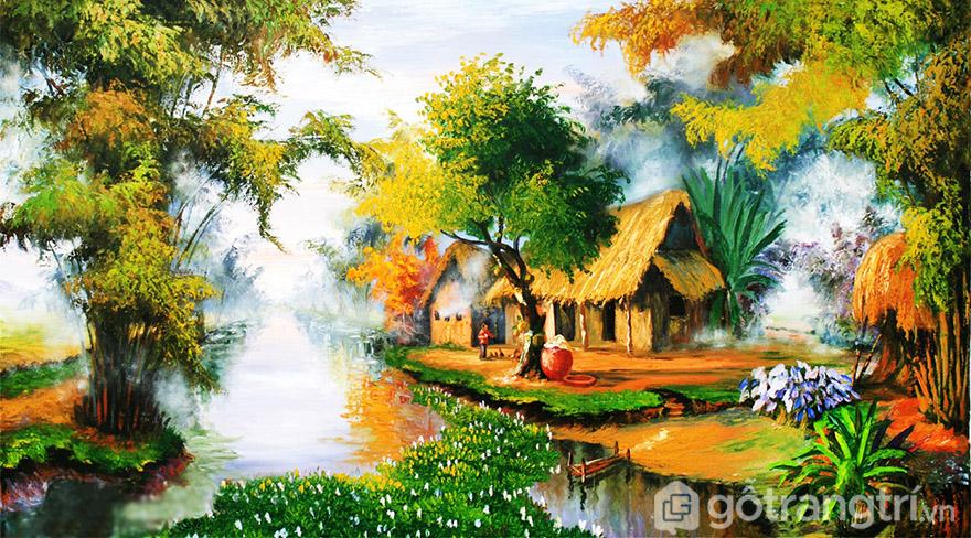 Tranh sơn dầu về phong cảnh làng quê Việt Nam có màu sắc đẹp tự nhiên.