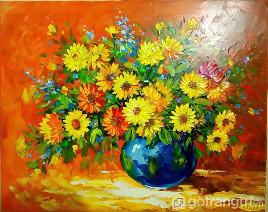 Tranh sơn dầu có độ bóng và màu sắc rất khác biệt với những mẫu tranh khác.