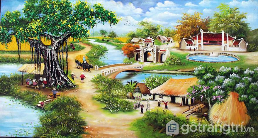 Tranh sơn dầu phong cảnh làng quê Việt Nam đang được rất nhiều gia đình lựa chọn.