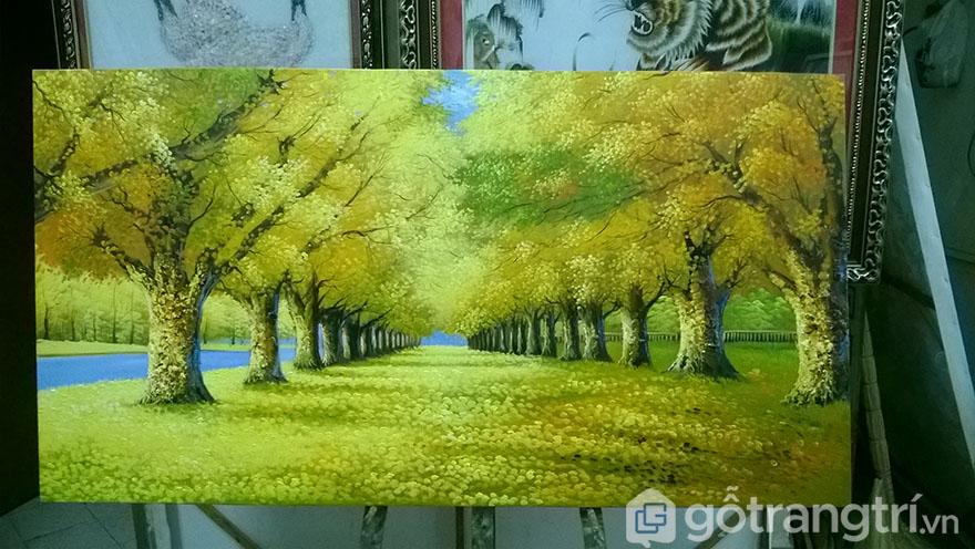 Cảnh sắc mùa thu được minh họa đẹp tinh tế trong tranh sơn dầu phong cảnh.
