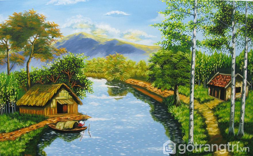 Tranh vẽ phong cảnh quê hương mang đến sự ấm cúng cho không gian.