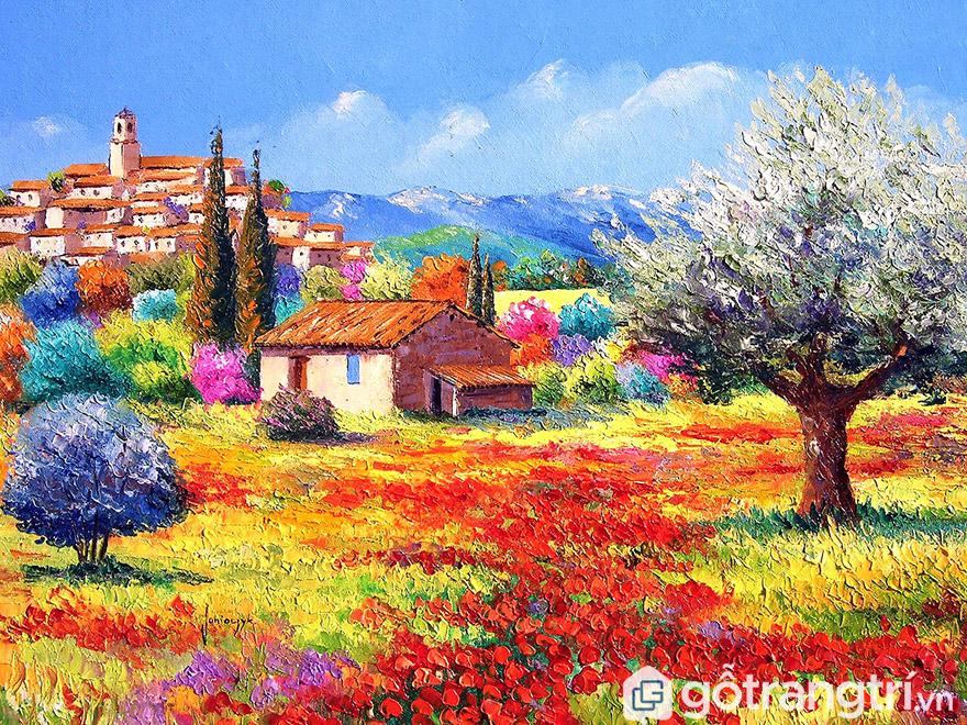 Dùng tranh sơn dầu phong cảnh sẽ tạo không gian thoáng rộng hơn.